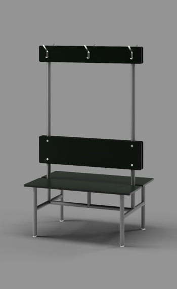 Double Bench with Clothes Hooks