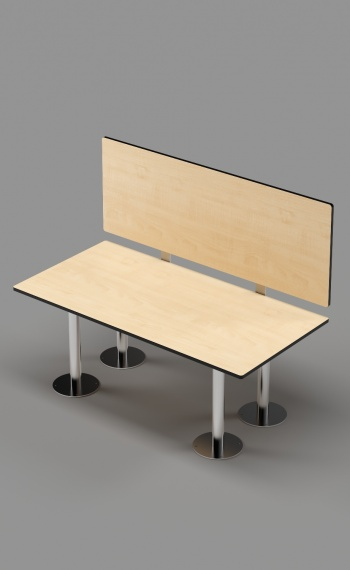ADA Bench with Back оn Stainless Steel Posts