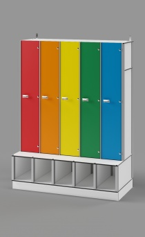 Single-Tier Locker with Cubbies&Bench