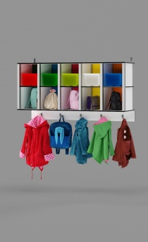 10-Cubby Wall Locker with 5 hooks