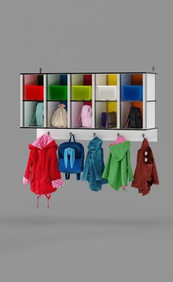 10-Cubby Wall Locker with 5 hooks